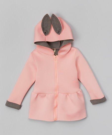 3533929eeb18 Leighton Alexander Pink   Gray Hooded Peplum Jacket - Infant ...