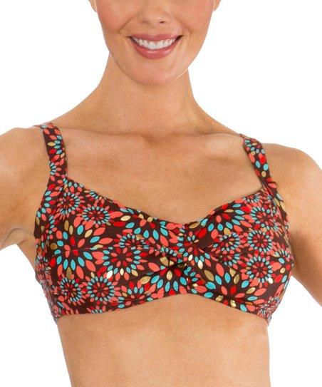 d1fd5bd3b8f55 Mazu Swimwear Brown Metal Leaf Twist-Front Bikini Top | Zulily