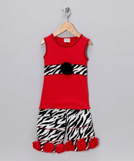 3d0a645ebd51 AnnLoren Red   Black Zebra Top   Rosette Ruffle Pants - Toddler ...