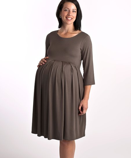 ab9adf1d0a376 Barbara Luke Maternity-for-Multiples Taupe Pleated Maternity Dress ...