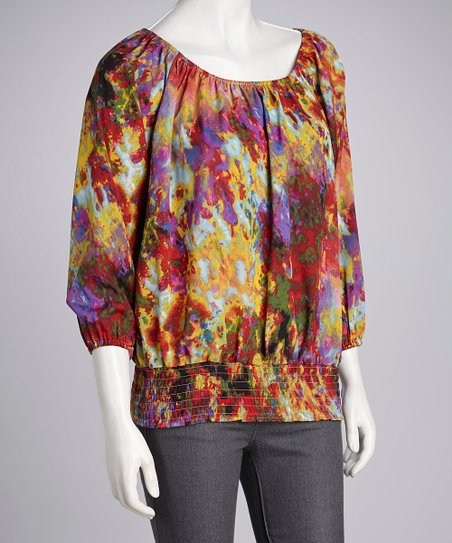 b5c20eca Brooke Leigh Red & Yellow Abstract Smocked Top   Zulily