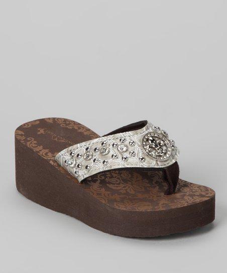 c0b36d5fd5 Bubblegum Diva Silver Fleur-de-Lis Bling Wedge Sandal | Zulily