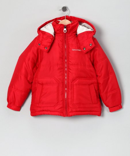 30dcfe82090e Calvin Klein Jeans Red Puffer Jacket - Toddler   Boys