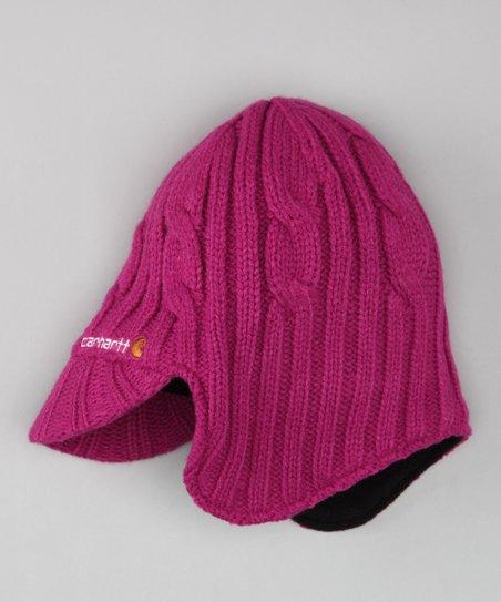 490c46ad0d0f3 Carhartt Fuchsia Cable-Knit Earflap Hat