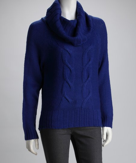 3bee47033c love this product Winter Royal Blue Cable-Knit Cowl Neck Sweater