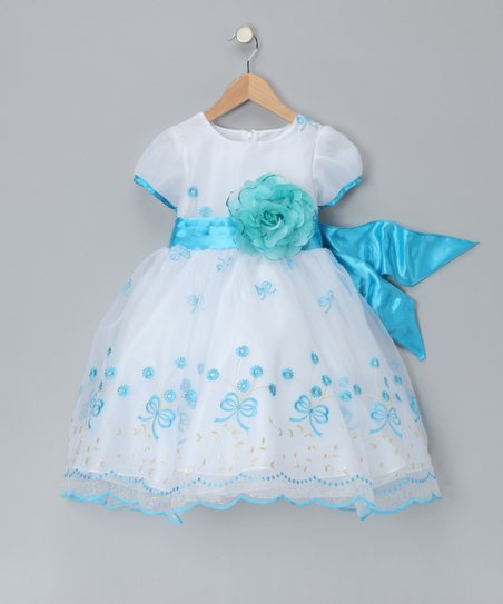 059ca3103 Chic Baby White   Turquoise Bouquet Dress - Toddler   Girls