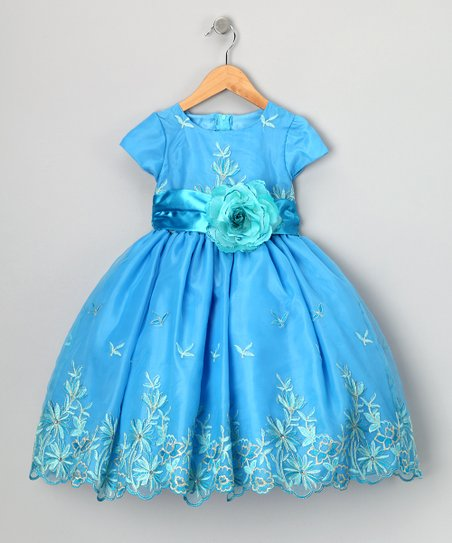 9f096a3df Chic Baby Turquoise Floral Embroidered Dress - Girls