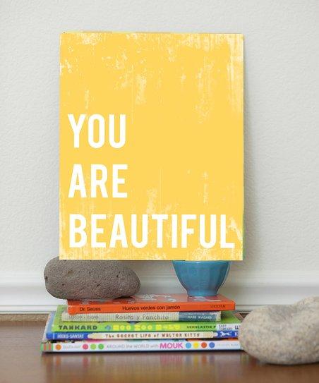 Yellow 'You Are Beautiful' Print