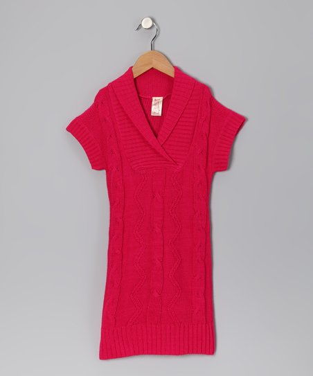 9afe565e521 love this product Fuchsia Cable-Knit Sweater Dress - Toddler   Girls