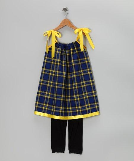 Cozy Bug Blue Plaid Dress Black Leggings Infant Toddler Girls