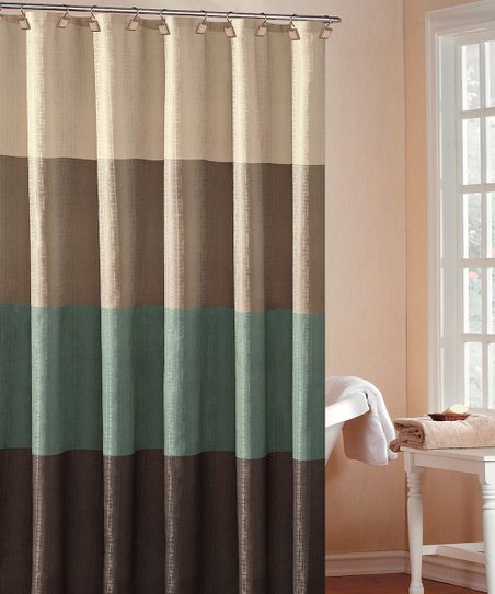 Blue Hampton Hotel Color Block Shower Curtain
