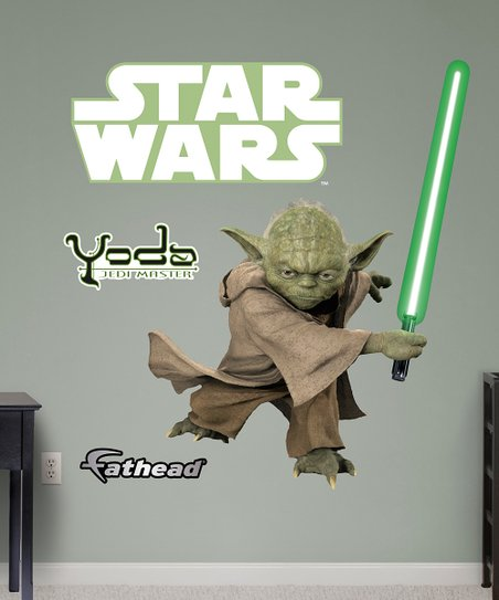fathead star wars yoda glow-in-the-dark wall decal set | zulily
