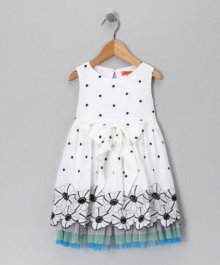 de07eca64 Funkyberry White Flower   Polka Dot Dress - Toddler