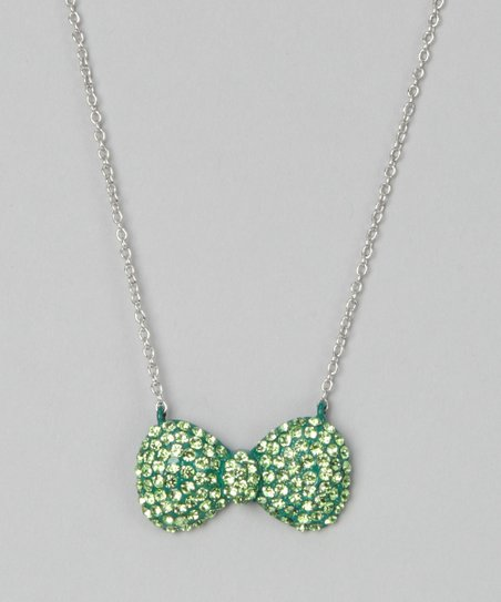 Green Crystal Bow Necklace