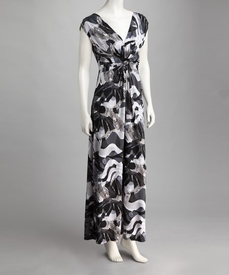 58554baf45 GLAM South Beach Gray Abstract Knot-Front Maxi Dress - Women