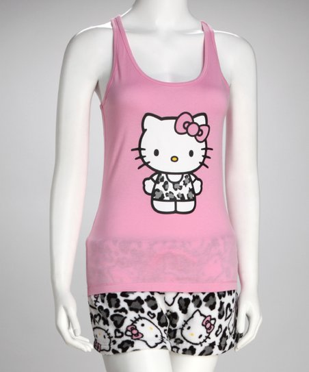 89a047939 Hello Kitty Pink Cheetah Kitty Racerback Tank & Shorts - Women | Zulily