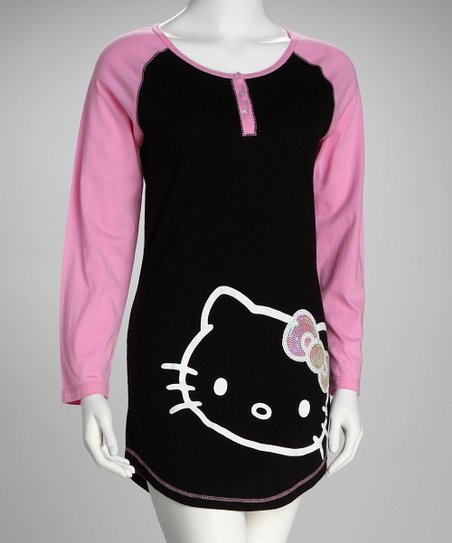 10fe014f9c Hello Kitty Black   Pink Oversized Sleep Shirt - Women