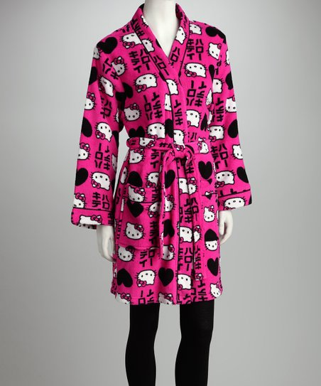 eb7f6df15 Hello Kitty Pink & Black Heart Plush Robe - Women | Zulily