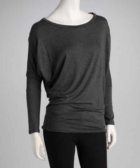 03caa5d70fd89 love this product Charcoal Gray Banded Dolman Top - Women