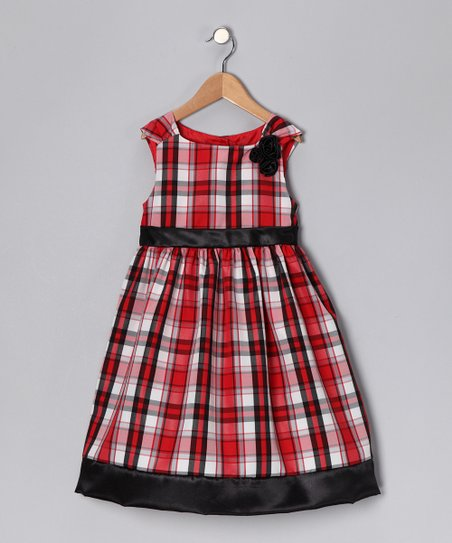 ab511e2c65afe Joe-Ella Red Plaid Sadie Dress - Toddler & Girls