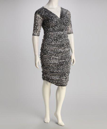 KIYONNA Kiyonna Gray Snow Leopard Plus-Size Dress   Zulily