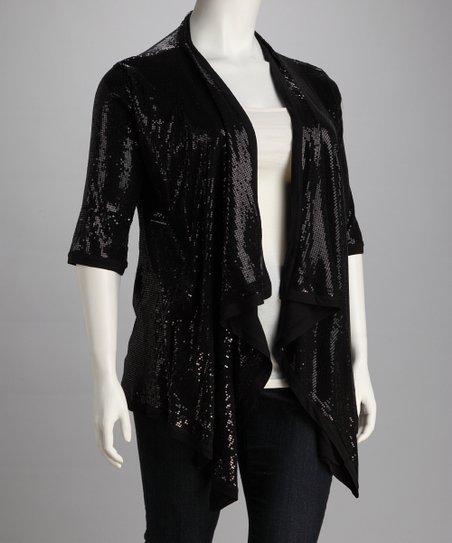 Kische Black Sequin Plus Size Short Sleeve Open Cardigan