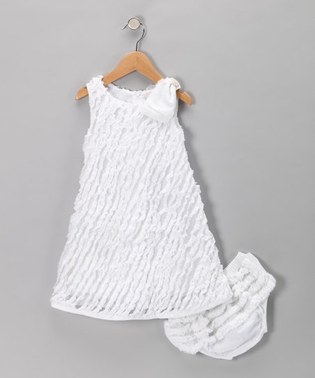Lpd White Bow Ruffle Dress Diaper Cover Toddler Zulily