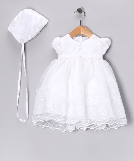 0544f115b love this product White Christening Gown & Bonnet - Infant