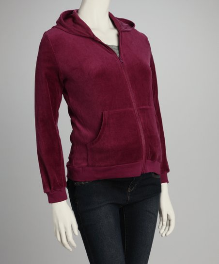 Lilo Maternity Lilo Maroon Velour Maternity Zip Up Hoodie Best Price And Reviews Zulily
