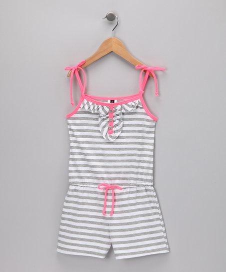 ecb0e87c9930 Lily Bleu Heather Gray   White Stripe Romper - Girls