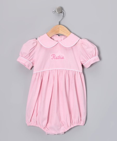 Lollypop Kids Clothing Light Pink Gingham Personalized Bubble ... a2ba0e3b3