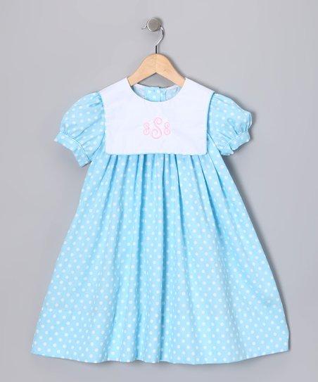 8c1b1fde2d Lollypop Kids Clothing Light Blue Polka Dot Monogram Dress - Infant ...