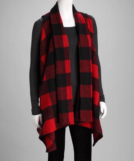 7a2e2e7a5be love this product Red   Black Buffalo Check Vest