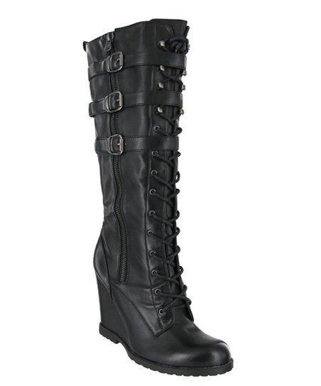 38613eaf74b MIA Shoes Black Ursela Wedge Boot