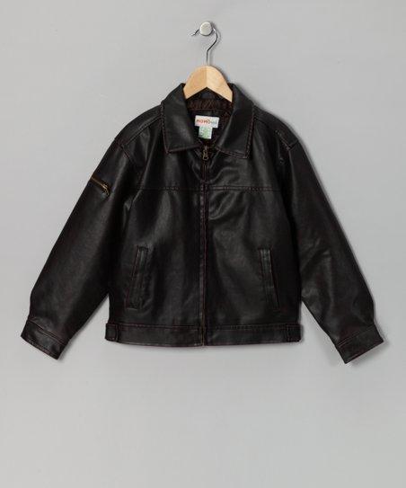 972e0287ba60 MOMO Kids Brown Faux Leather Bomber Jacket