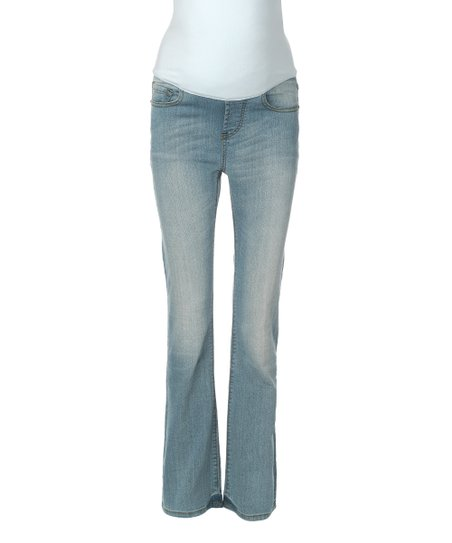283ae344b79 love this product Mama Jeanius Light Blue Love Over-Belly Maternity Bootcut  Jeans