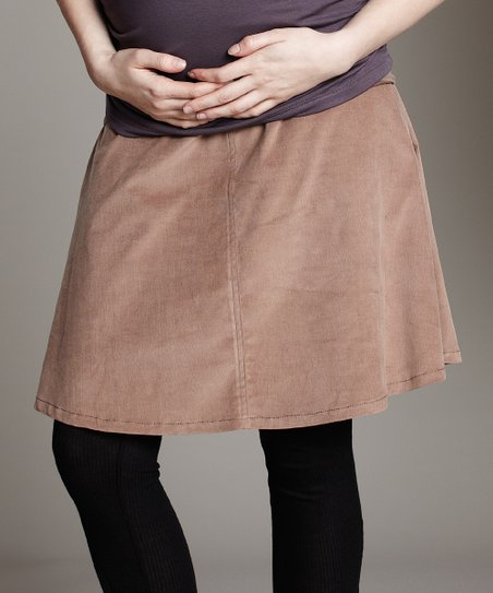 41aa1a8dc790c love this product Maternal America Tan Over-Belly Corduroy Maternity Skirt