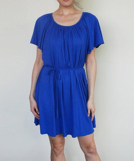 Milky Way Dodger Blue Fan Maternity & Nursing Dress