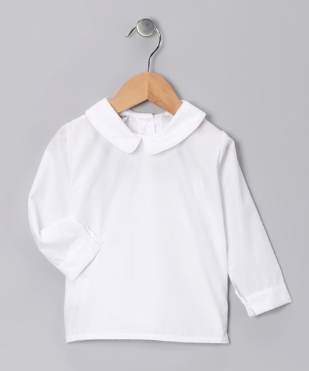 e6d8224a9 love this product White Long-Sleeve Peter Pan Collar Top - Infant, Toddler  & Boys