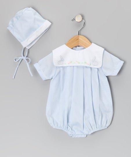 c5487023bf love this product Blue   White Bunny Collar Bubble Bodysuit   Beanie -  Infant