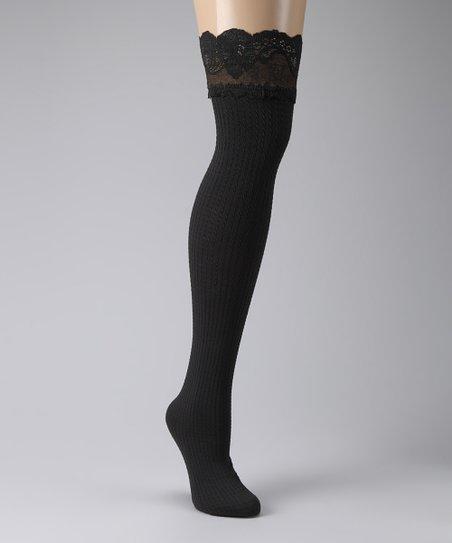846f9b4a7f4 Philippe Matignon Black Pinstripe Stay-Up Thigh-High Stockings