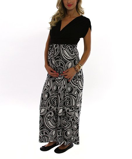 d1313f6460 PinkBlush Maternity Black & White Paisley Maternity Maxi Dress | Zulily