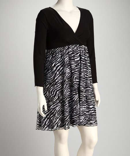 b96baca2091 S.H.E. – Soul Harmony Energy Black   White Zebra Plus-Size Dress ...