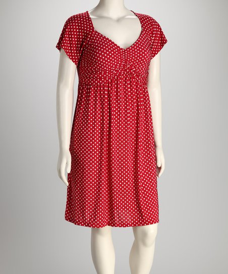 S.H.E. – Soul Harmony Energy Red Polka Dot Plus-Size Dress | Zulily