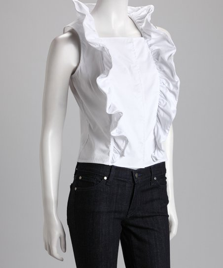 7651a5211a9255 love this product White Ruffle Sleeveless Top