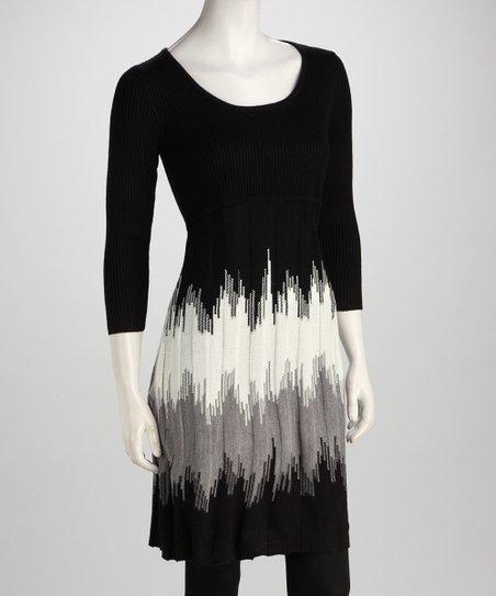 8502ed8dc30 Sandra Darren Black   Gray Zigzag Stripe Sweater Dress
