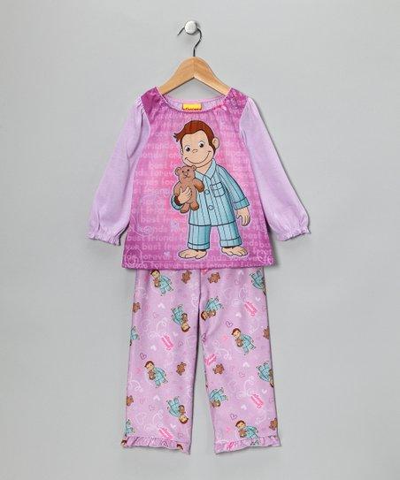 Lavender Curious George Pajama Set - Girls  da222967e