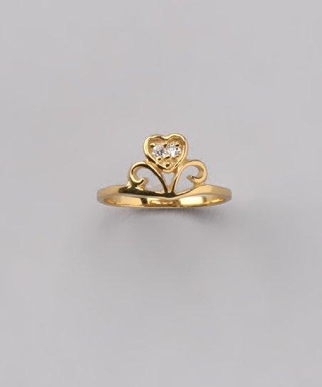 Gold Tiara Heart Baby Ring