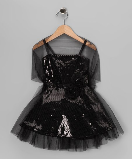 b51d9dd0f179 Sophia Young Black Sequin Dress & Shawl - Toddler & Girls | Zulily