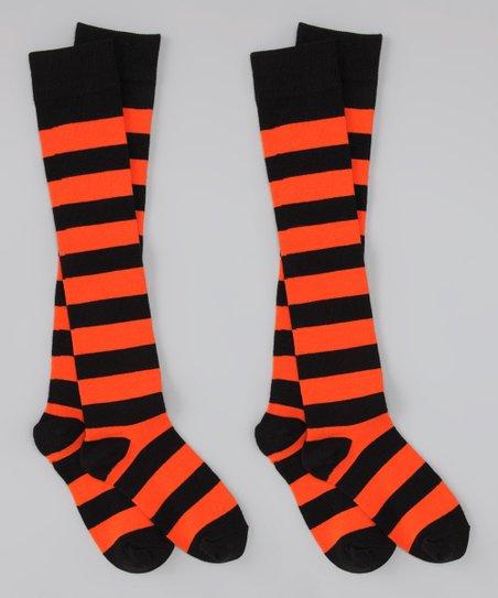 8a089cf8e Spirit Socks Black   Orange Stripe Knee-High Socks Set